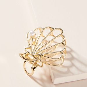 Anthro Sally Shell Hair Clip Gold Wire Faux Pearl